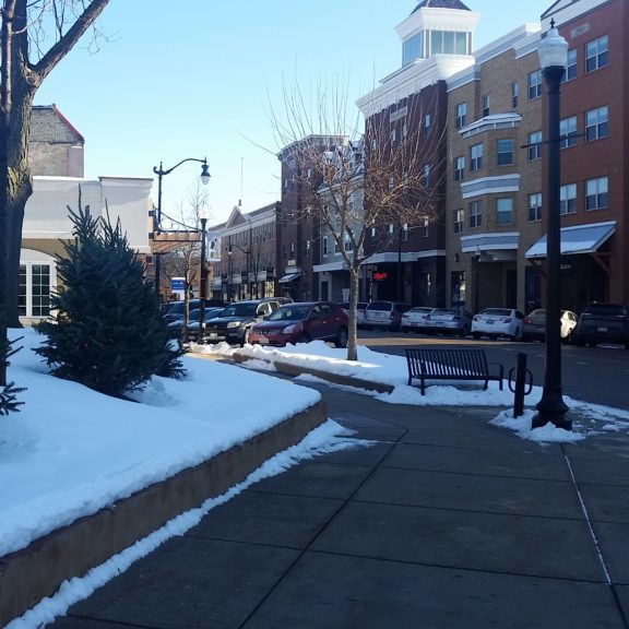 downtown in winter