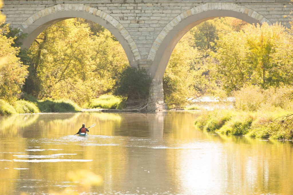 Things to do in fall—Paddling on Turtle Creek near Tiffany Bridge