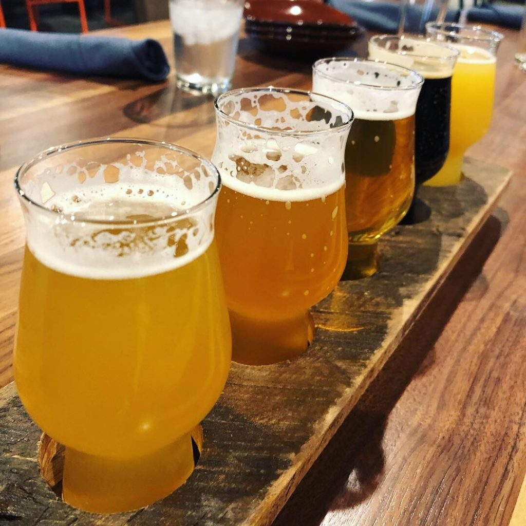 Flight of beer at G5 Brewing Co.
